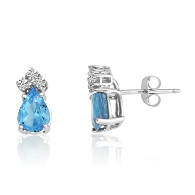 14k White Gold 7X5 Pear Blue Topaz and Diamond Earrings