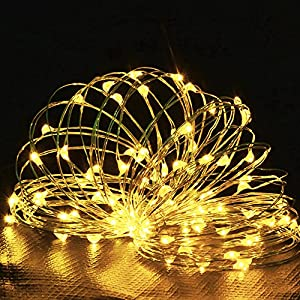 LED String Lights, MORECOO 100 LEDS 33ft Waterproof String Light , Power Adapter Included, Fairy Starry String Lights, Rope Lights For Christmas Holiday Party Wedding Garden Decoration by MORECOO