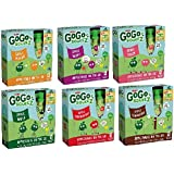 GO GO Squeez (Squeeze) VARIETY 6 PACK: 1 box of APPLE MANGO, 1 box of APPLE BERRY, 1 box of APPLE PEACH, 1 box of APPLE APPLE, 1 box of APPLE STRAWBERRY & 1 box of APPLE CINNAMON. Each box contains 4 easy to open pouches for a total of 24 delicious servings.