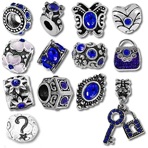 Timeline Trinketts Birthstone Beads and Charms for Pandora Bracelets - September Sapphire Blue