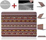 SwiftBox Retro Vintage Folk Style Geometric Abstract Stripe Anti-fingerprint Anti-scratch HardShell Case for Retina Macbook Pro 13 inch with Retina display   Free Transparent Silicone Keyboard Skin Cover   Handmade Owl Phone Strap