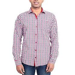 Solzo Slim Fit Red Checks Cotton Shirt for Men(Size: 40)