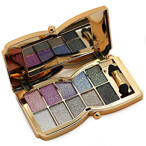Tmalltide Natural Nudes Professional 10 Colors Diamond Bright Colorful Eye Shadow Super Flash Sparkling/Glitter Eyeshadow Colour Concealer Palette Gift Bundle From US