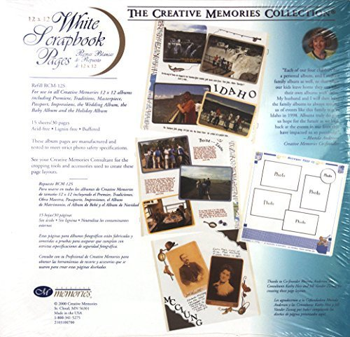 The Creative Memories Collection 12 x 12 12x12 White Scrapbook Pages 15-sheet Refill RCM-12S (2000) (Creative Memories Supplies compare prices)