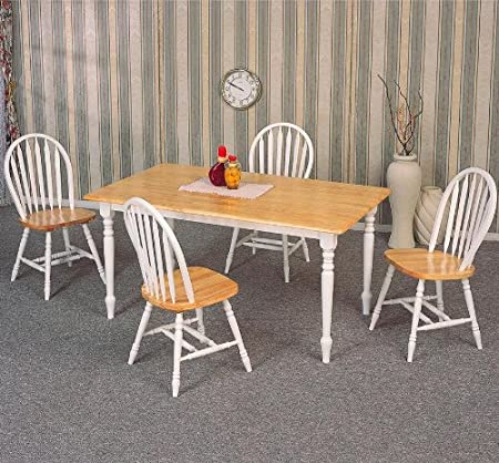 5pc Dining Table & Chairs Set White & Natural Finish