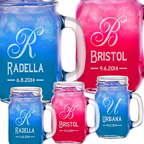 Monogram Personalized Mason Jar Bridesmaid Gift For Groomsmen Drinking Mason Mugs With Handle Engraved Custom Etched With Name And Date For Wedding, Engagement Anniversary Bridal Party Gift Or A Favor Idea For Groomsmen Bridesmaids Gifts Etched Laser Gift