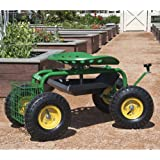Best Choice Products® Garden Cart Rolling Work Seat With Tool Tray Heavy Duty Gardening Planting New
