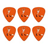 Stylish Red Foxy Fox Novelty Guitar Picks Medium Gauge - Set of 6 (Color: Multi, Tamaño: 1.17 Inches)