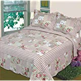 Fancy Collection 3pc Bedspread Bed Cover Pink Beige Green Flowers (King)
