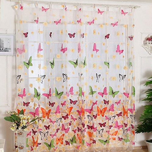 WensLTD(TM) Hot!Butterfly Print Sheer Window Curtains For Living Room Bedroom