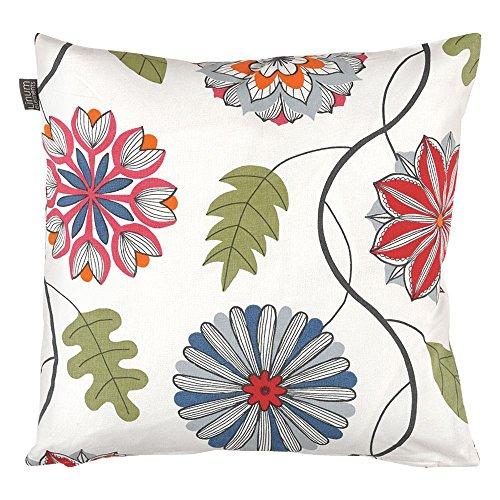 Linum Kissenhülle KALEIDO M0C weiß mit Blumen Druck 40cm x 40cm aus Baumwolle mit Reißverschluss