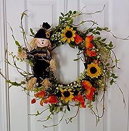 Sunflower and Scarecrow Wreath Fall Wreath (Blue)