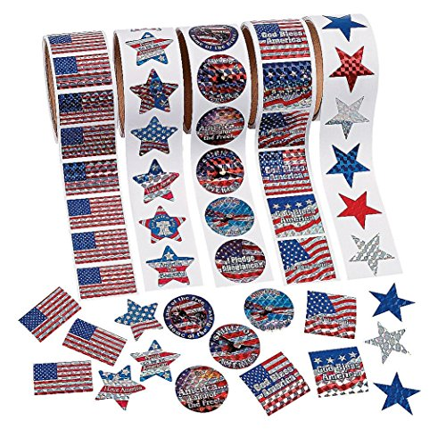 Patriotic Roll Sticker Set (500 Pack) - Curriculum Projects & Social Studies