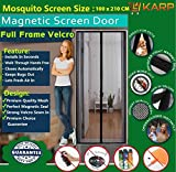 KARP Premium Quality Magnetic Screen Door Full Frame Velcro - Keep Bugs Out Lets Fresh Air In. No More Mosquitos or Flying Insects - Children and Pet Friendly, Instant Bug Mesh with Top-to-Bottom Seal, Snaps Shut Like Magic for a Hands-Free Bug-Proof Curtain (3.5 Foot Length X 7 Foot Height) (Black Color), Package weight - 645 Gram