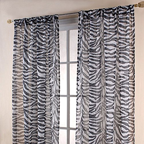 "Gorgeous Home *DIFFERENT COLORS* 2 PANELS 55"" WIDE X 84"" (FOR EACH PANEL) SOILD WINDOW ROD POCKET SHEER PANELS SEE THROUGH CURTAINS (GRAYISH ZEBRA)"