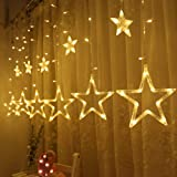 Twinkle Star 12 Stars 138 LED Curtain String Lights, Window Curtain Lights with 8 Flashing Modes Decoration for Christmas, Wedding, Party, Home, Patio Lawn, Warm White (Color: Star Lights, Warm White, Tamaño: Star Lights)
