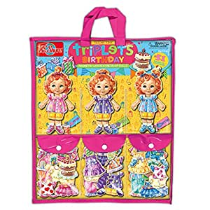 T.S. Shure T.S. Shure Teeny Tiny Triplets Birthday Wooden Magnetic Dress Up Dolls