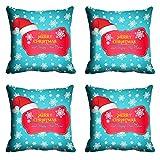 meSleep Blue Merry Christmas Cushion Cover (16x16)