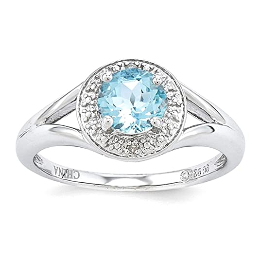 Sterling Silver Diamond & Aquamarine Ring