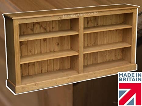 Solid Pine Bookcase, 3ft x 6ft Low Handcrafted & Waxed Adjustable Display Shelving, Bookshelves. Choice of Colours. No flat packs, No assembly (BK8)