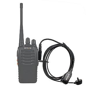 Retevis 2 Pin PTT Mic Covert Acoustic Tube Earpiece Headset for Kenwood PUXING Baofeng UV-5R UV-5RA 888S Retevis H777 RT7 RT21(1 Pack) (Color: Black)
