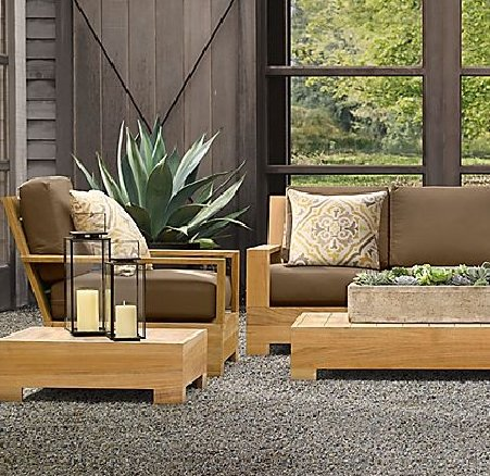 New Luxurious 4 Piece Teak Sofa Set - 2 Lounge Chairs, Ottoman & Side Table