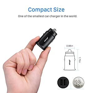 Car Charger, Ainope 4.8A Aluminum Alloy Car Charger Adapter Dual USB Port Fast Car Charging Mini Flush Fit Compatible Phone x/8/7/6s, iPad Air 2/Mini 3, Samsung Note9/ Galaxy S9/ S8 Plus/S7 - Black (Color: Black)
