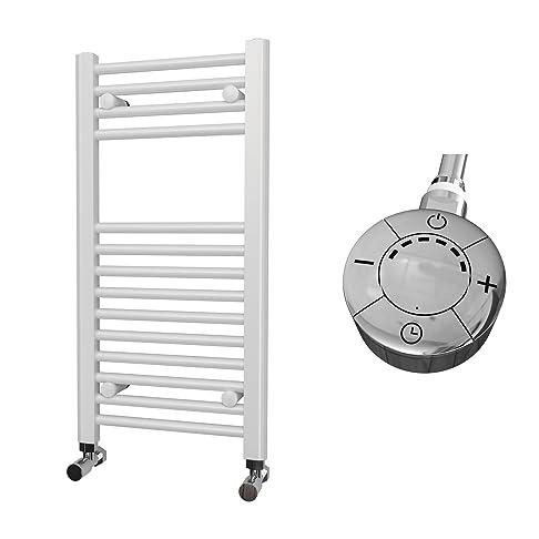 HB Essentials Zena bianco dritto bagno Portasalviette, Acciaio, White, 800mm x 400mm Electric Only - Thermostatic