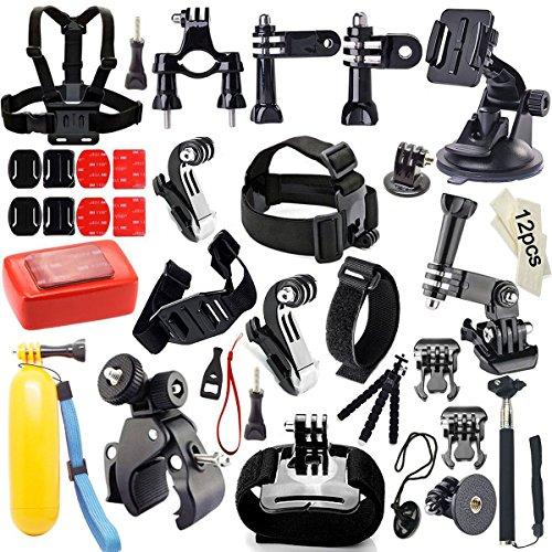 Iextreme Kit d'accessoires pour GoPro Hero 5 4 3+ 3 2 1 SJ4000 SJ5000 Xiaomi Yi +Harnais de Poitrine + Selfie Bâton + Sangle Bracelet + Poignée Flottante