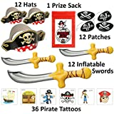 72 Pc Deluxe Pirate Dress up Party Favor Pack (12 Pirate Hats, 12 Pirate Patches, 12 Inflatable Pirate Swords, & 36 Pirate Tattoos) Costume Supplies