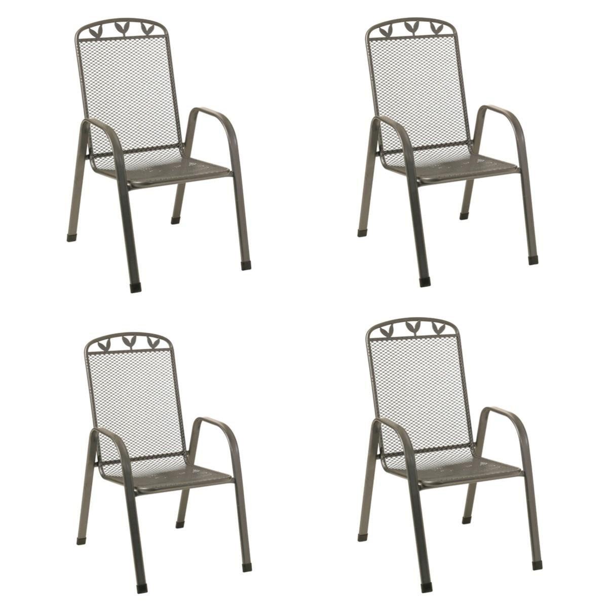 Stapelstühle Toulouse 4Stück Streckmetall Gartenstühle Stapelstuhl Gartenmöbel günstig online kaufen