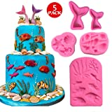 Marine Theme Fondant Silicone Mold,Seashell,Mermaid Tail,Seaweed,Coral,Fish DIY Handmade Baking Tools for Mermaid Theme Cake Decoration,Chocolate,Candy,Fondant,Polymer Clay,Crafting Projects (Color: Pink)
