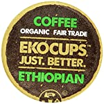 EKOCUPS Organic Artisan Coffee, Ethiopian, Medium roast for Keurig K-cup single serve Brewers, Each 0.45 Oz, Net Wt. 4.5 Oz, 10 count by Crazy Cups