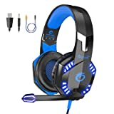 VersionTECH. G2000 [Updated] Stereo Gaming Headset for Xbox One PS4 PC,Surround Sound Over-Ear Headphones with 50mm Drive Unit,Noise Cancelling Mic, LED Lights for Laptop, Mac,Nintendo Switch Game (Color: Blue)