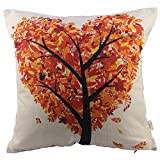 HOSL Orange Heart Shape Tree Cotton Linen Square Decorative Throw Pillow Case Cushion Cover 17.3*17.3 Inch (44CM*44CM)