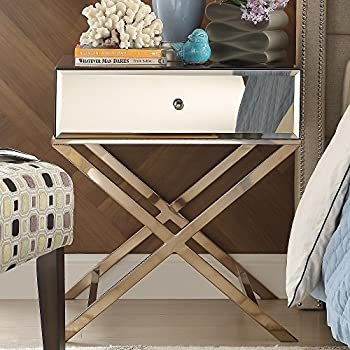 Genoa Camille X Base Mirrored Accent Campaign Table Champagne Gold Plated