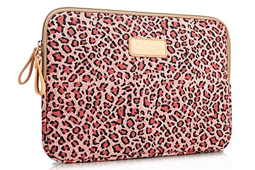 LISEN® Pink Leopard's Spots Style Canvas Fabric 12-12.5 Inch Laptop / Notebook Computer / MacBook / MacBook Pro / MacBook Air Sleeve Case Bag Cove + Neck Strap Lanyard + Stylus Pen + Cleaning Cloth