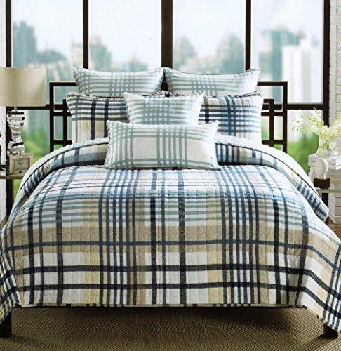 Plaid Quilt Set 3-Piece Cotton Reversible Quilt Set, Full / Queen Coverlet Bedspread Boys Bedding Navy Blue Grey Beige