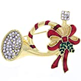 SoulBreeze Merry Christmas Jewelry Poinsettia Flower Tree Candy Cane Charm Brooch Pin (Trumpet)