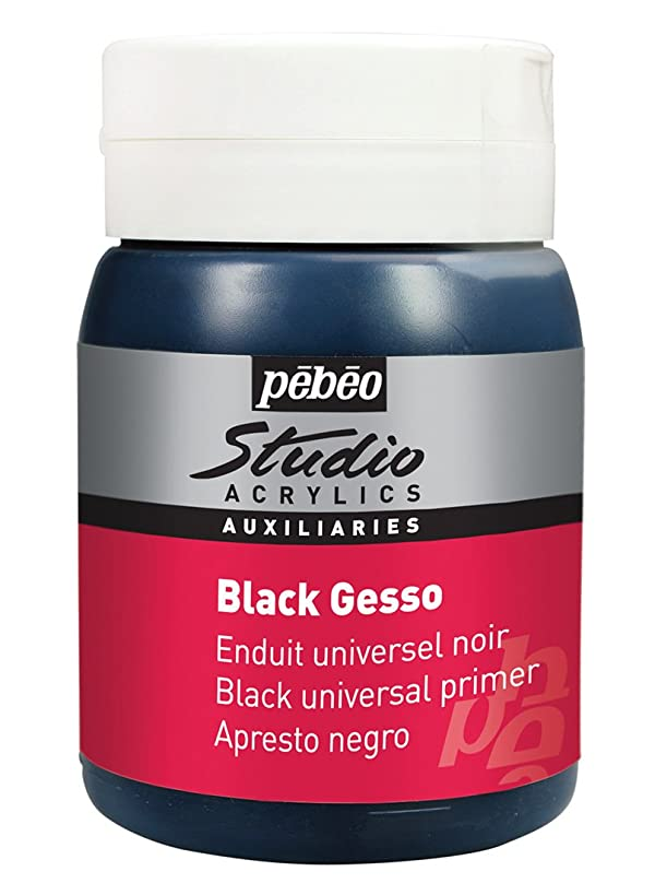 PEBEO Studio Acrylics Auxiliaries, Gesso Universal Primer, 500 ml - Black (Color: Black, Tamaño: 500 ml)