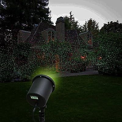 ZJKC® 6-watt Distance Controlled Outdoor Waterproof Red & Green Laser Landscape Projector Light Automatic 2 Color Sparkling Christmas Light Garden Tree or Backyard Decoration Lights