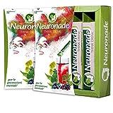 Neuronade ® - Think Drink per la concentrazione, la memoria e il potere contro la stanchezza | con ginkgo, brahmi, Rhodiola, Aronia, tè verde, biotina, vitamina B12 e B5 | ingredienti naturali e 100% vegan, 12 sacchetti