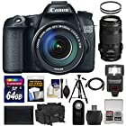 Canon EOS 70D Digital SLR Camera & EF-S 18-135mm IS STM with 70-300mm IS Lens + 64GB Card + Battery + Case + Filters + Tripod + Flash + Kit