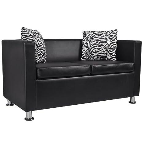 Canapé de salon en cuir synthétique noir avec deux coussins inclus