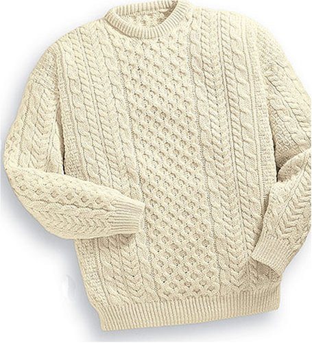 Aran Knit Crew Neck Alpaca Sweater Mens Sweaters