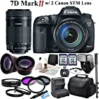Canon EOS 7D Mark II Digital SLR Camera With Canon EF-S 18-135mm f/3.5-5.6 IS STM Lens & Canon EF-S 55-250mm F4-5.6 IS STM Lens & CS Pro Kit: Includes High Definition Wide Angle Lens, Telephoto HD Lens, 3 Piece HD Filter Kit ,4 Piece Macro Close-up Set, 2x High Speed 32GB SDHC Memory Cards, SD Card Reader, Memory Card Wallet, Carrying Case, Full Size Monopod, Canon LPE6 Replacement Battery, Rapid Travel Charger, Lens Cap Keeper, Shoe Mount Flash, Brush Blower, Cleaning Kit, Lens Pen & CS Microfiber Cleaning Cloth