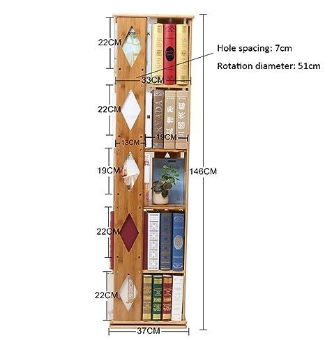 Haushaltsgegenstände Bambus ROTATING BOOKSHELF Student Moderne Buch Rack Boden Regal Kreatives Bucherregal -CRS-ZBBZ