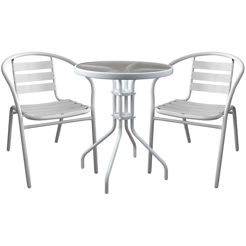 3tlg. Bistrogarnitur Bistrotisch mit geriffelter Tischglasplatte Ø60cm + 2x Gartenstühle Gartengarnitur Sitzgruppe Sitzgarnitur Weiß