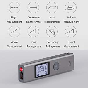 IIDA laser distance meter, rechargeable compact digital distance measurer up to131 feet/40m, Backlight LCD, Pythagorean calculate, Distance, Area and Volume - ±2mm Accuracy