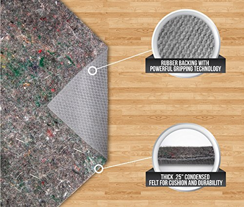 Gorilla Grip Felt and Rubber Non-Slip Rug Pad, Extra Cushion, 3 by 5 Feet
